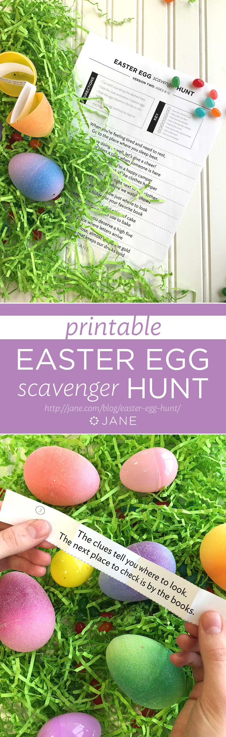 Get your Free Printable! Easter Egg Scavenger Hunt on Jane.com/Blog. We've done the hardwork for you. All you need to do is download, cut, hide, and enjoy watching your littles have fun on Easter Morning!