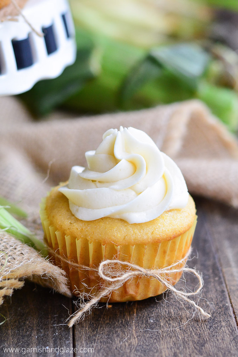 Cornbread Cupcakes with Honey-Buttercream Frosting