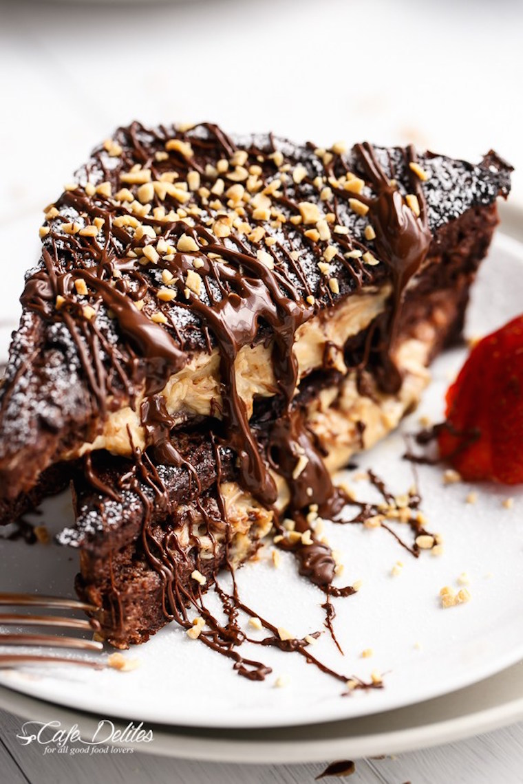 Peanut Butter Cheesecake Stuffed Chocolate Brownie French Toast