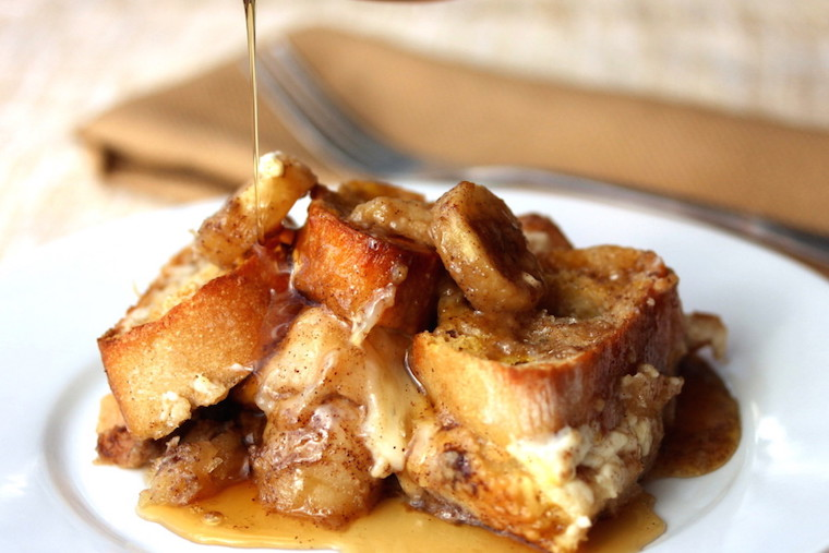 Caramel Banana Baked French Toast