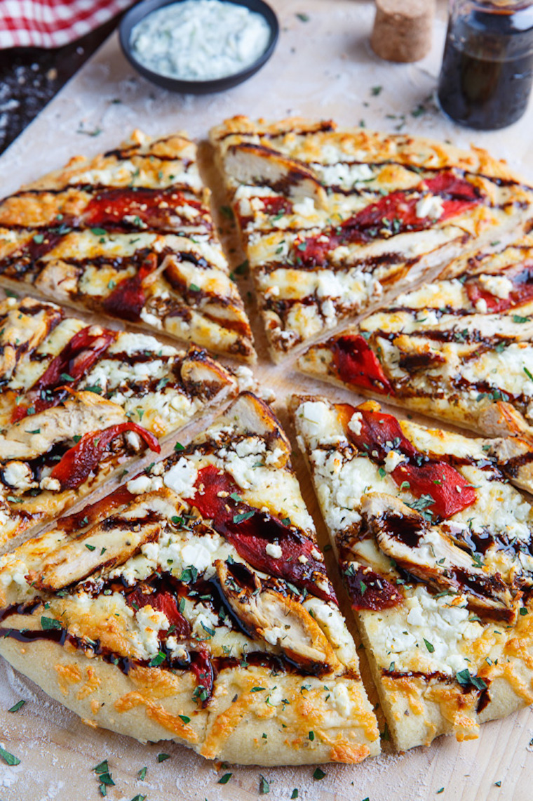 Mediterranean Grilled Chicken And Roasted Red Pepper Pizza