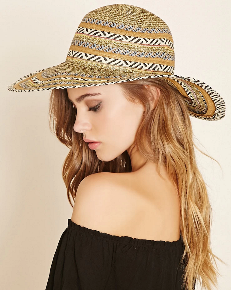 389df5e2c9b forever 21 striped wide-brim straw hat