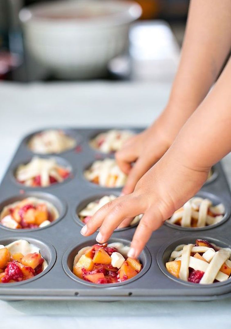 mini peach raspberry pies cooking with kids