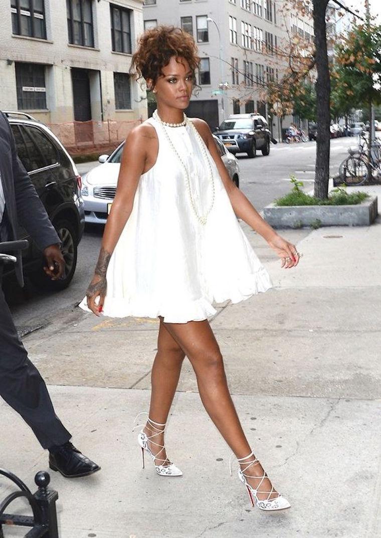 rihanna long pearls white outfit