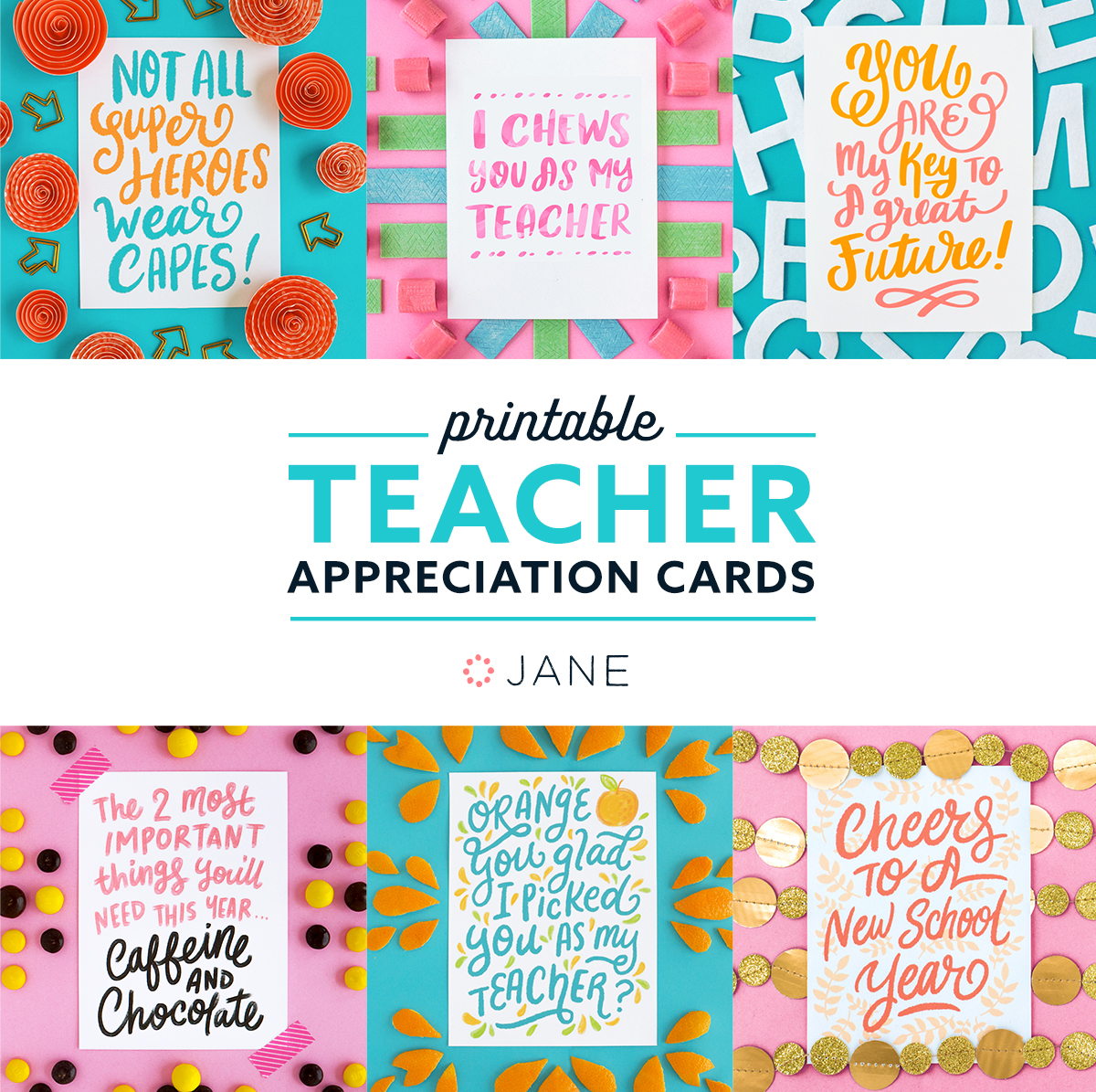 Bright image within free printable teacher appreciation cards