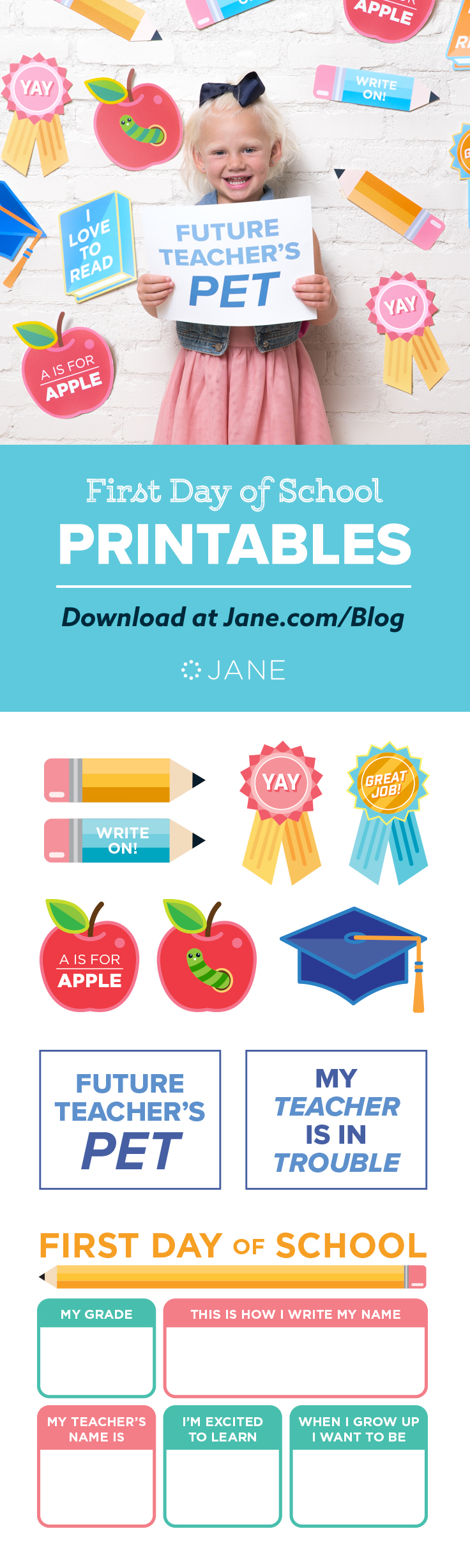 You've been preparing for this moment for weeks—you've been back to school shopping, helped them picked out their newoutfits, and now it's finally here: the first day of school! Download these super cute First Day of School Printables