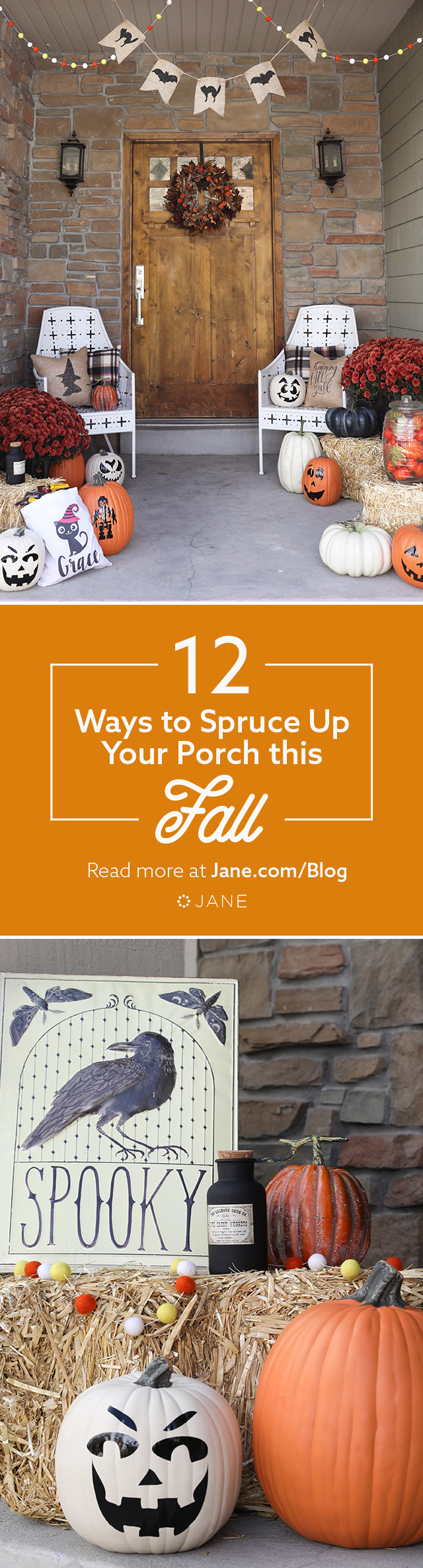 Fall is here and porch decorating is in full swing! Hit a home run with your porch ensemble with these tips, as well as vinyl pumpkin decals, pillows, and garlands from Jane.com!