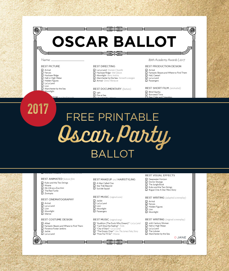 picture relating to Printable Oscar Ballot identified as Free of charge Printable Oscar Occasion Ballot - Jane Site Jane Site