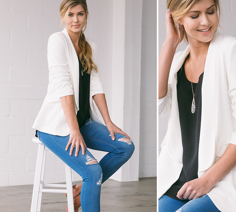 white-blazer-black-tank-blue-jeans