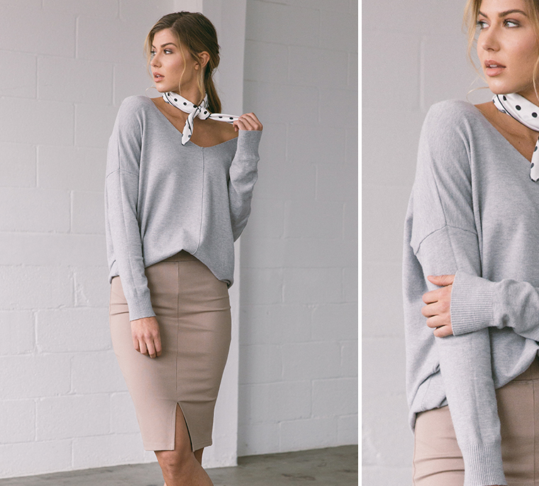 pencil-skirt-gray-pullover-silk-neckerchief