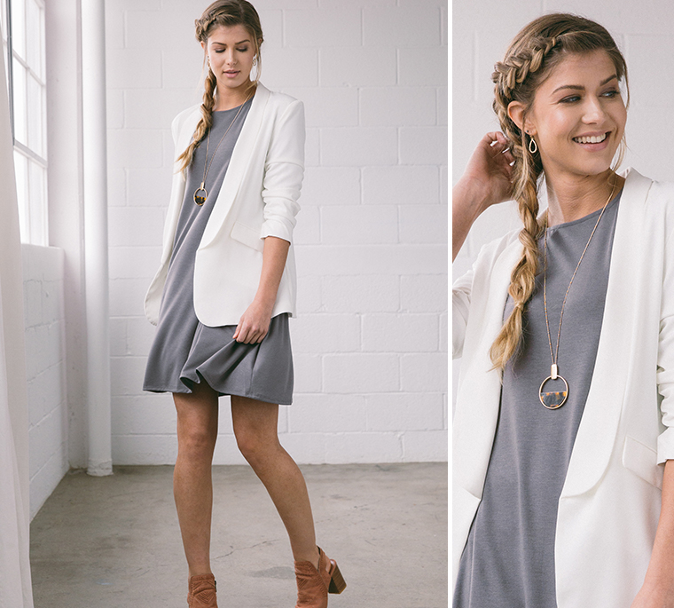girl-gray-dress-white-blazer
