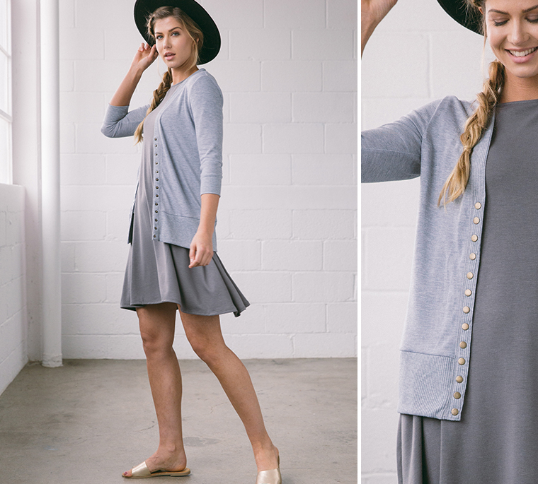 girl-floppy-hat-gray-dress-cardigan