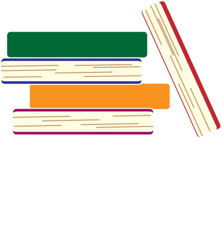 green, orange, blue and red books stacked