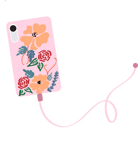 pink phone with floral design and pink cord