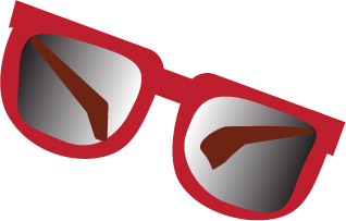 bright red sunglasses with tinted glass