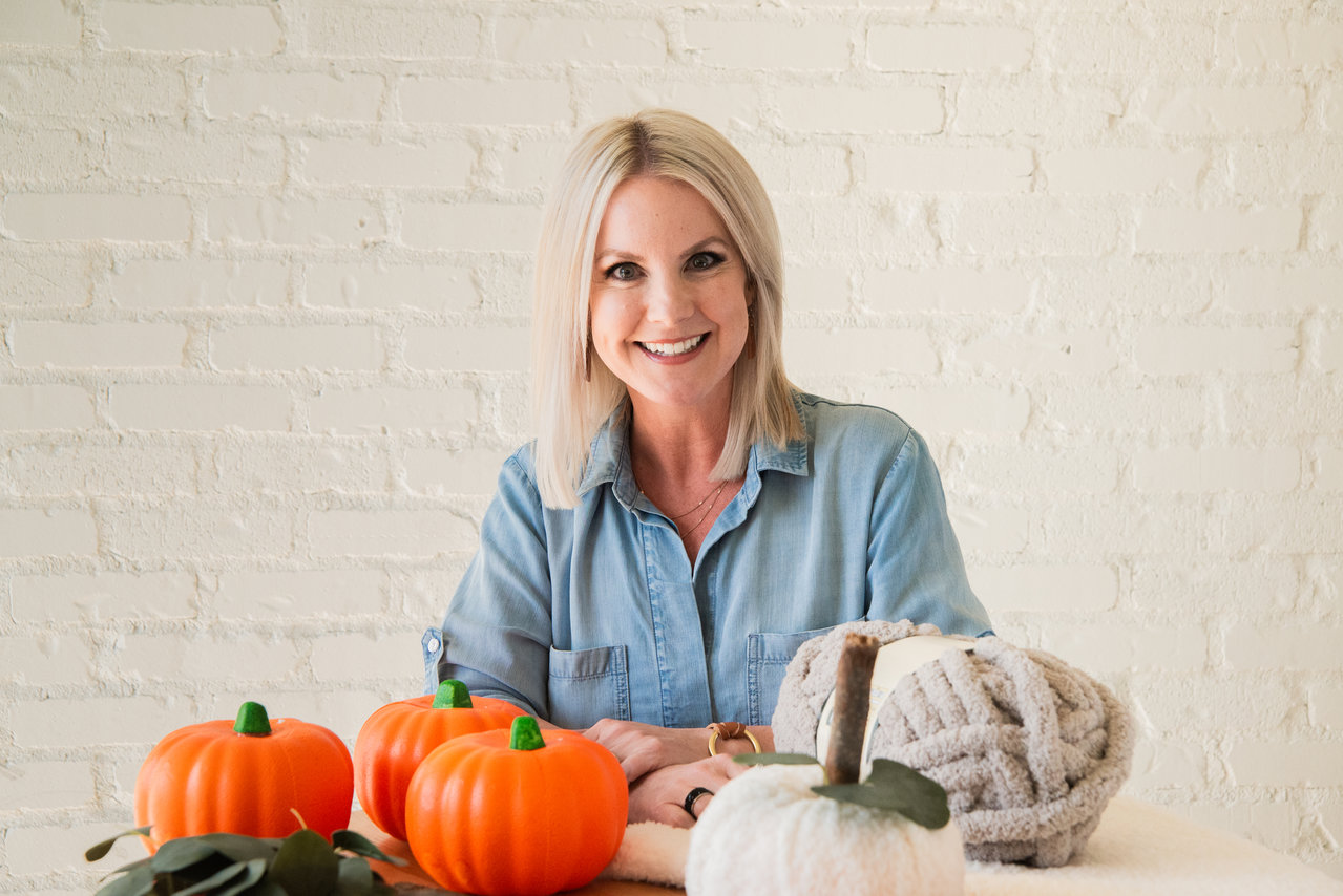 Woman With DIY Pumpkins