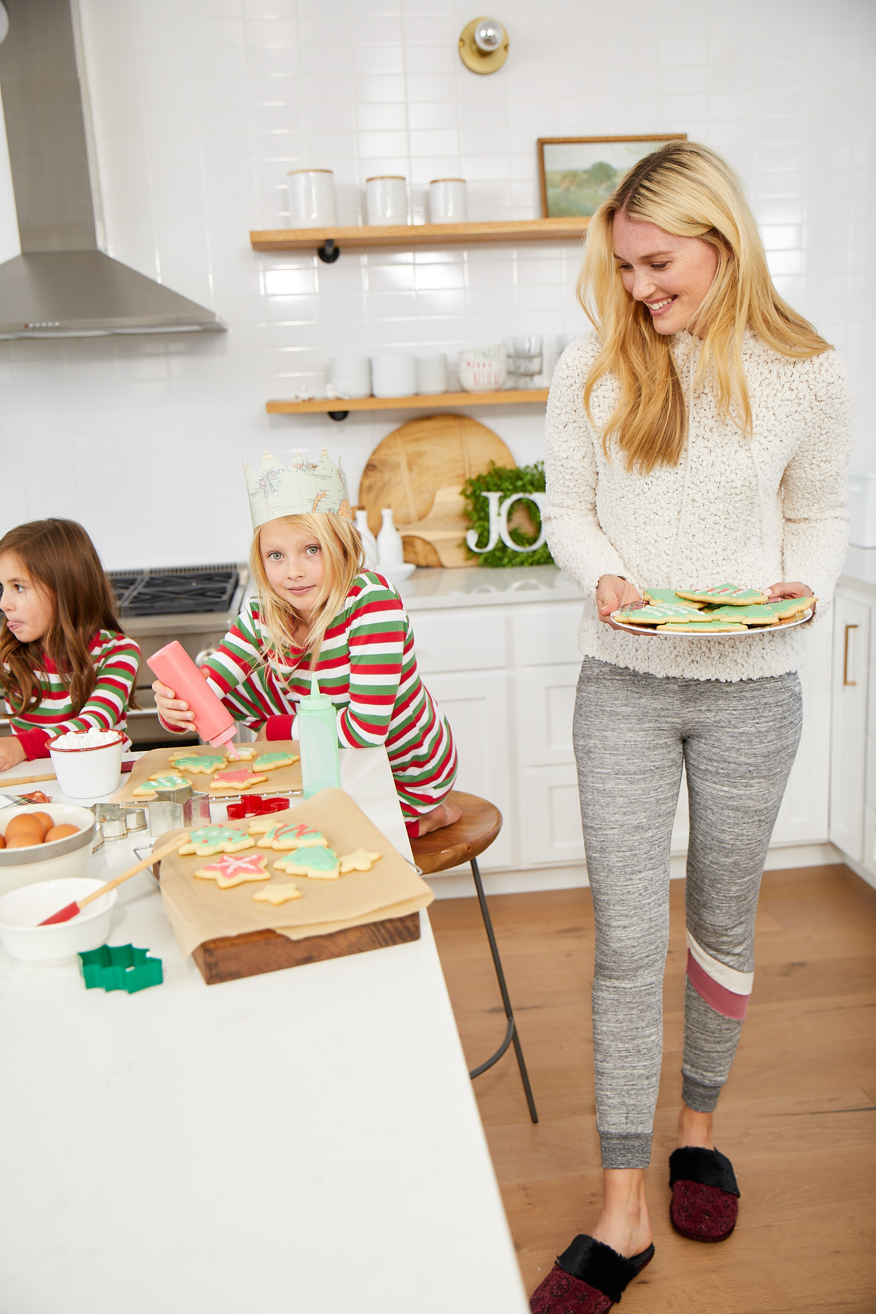 Mom And Kids With Cookies