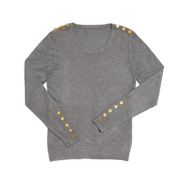 women's grey sweater with gold buttons