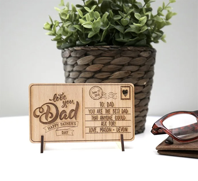 happy father's day wood postcard