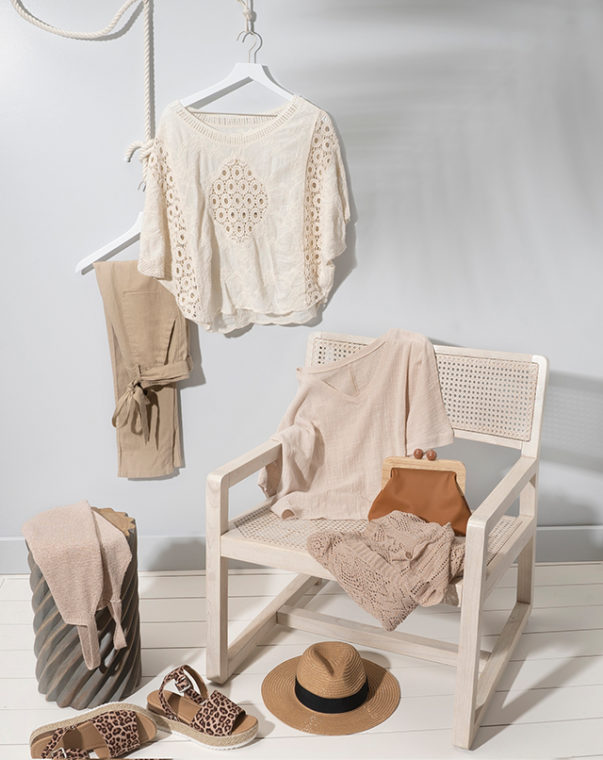 women's neutral clothing and accessories