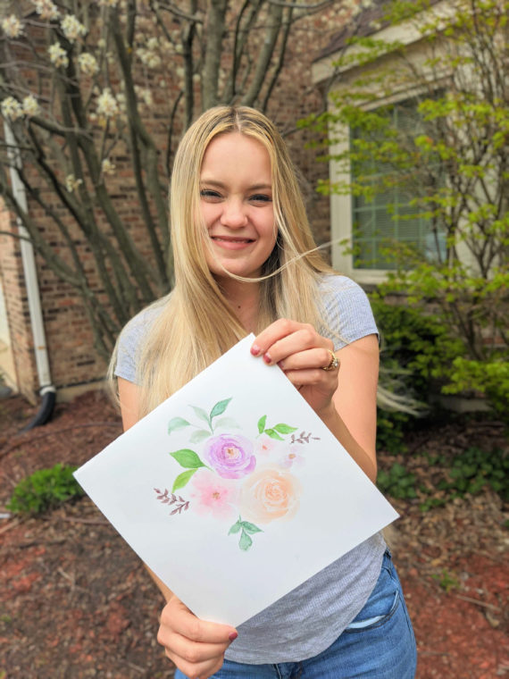 finished watercolor flower art with carli