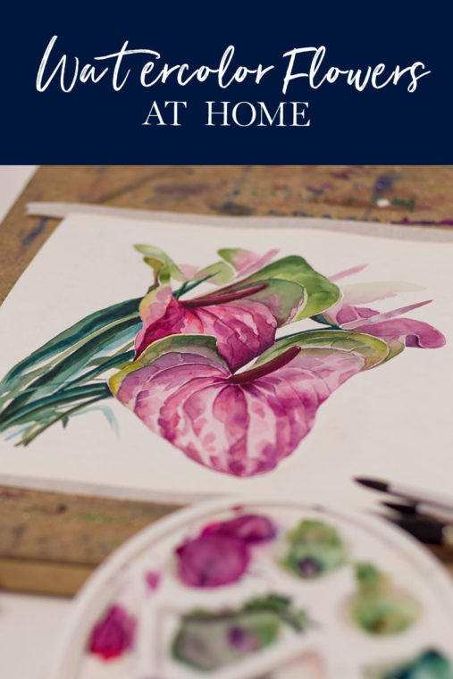 watercolor flowers at home