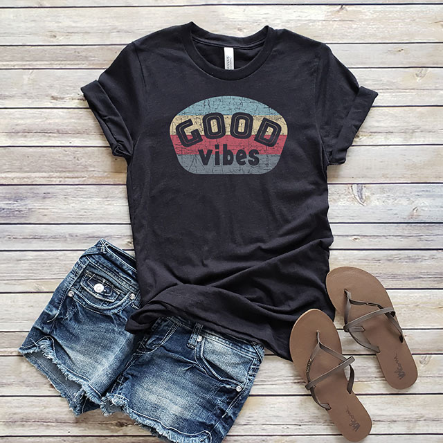 good vibes summer graphic tee outfit