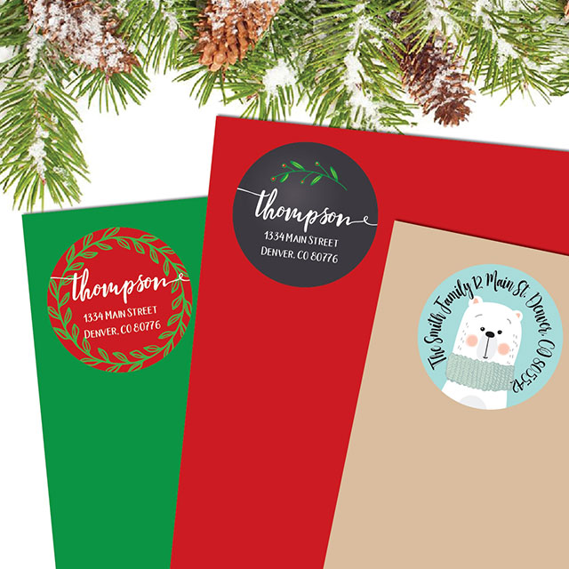 personalized christmas return to address labels