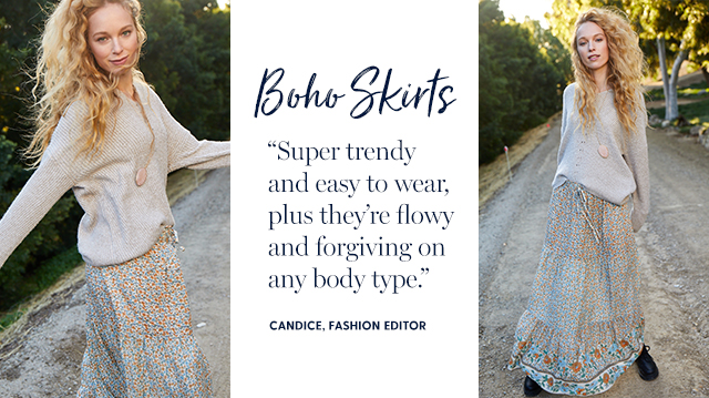 """boho skirts """"super trendy and easy to wear, plus they're flowy and forgiving on any body type."""" -candice, fashion editor"""