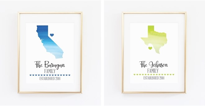 Custom Watercolor State Prints Jane