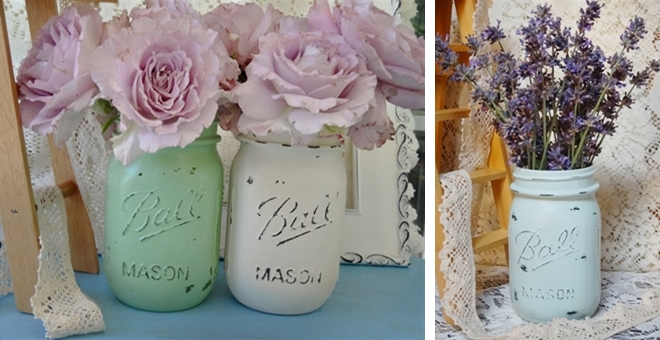 Shabby Chic Mason Jar Vases Set Of Two Jane