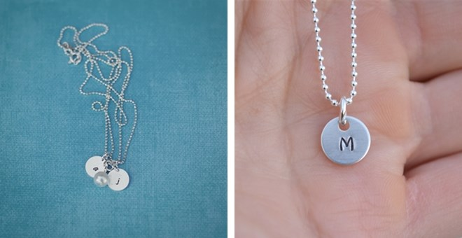 Mini Initial Stamped Mother's Necklace | Jane Mother
