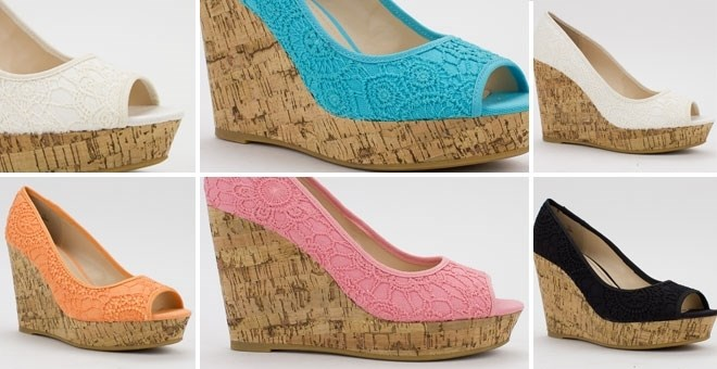 Lace Colorful Cork Wedges! | Jane