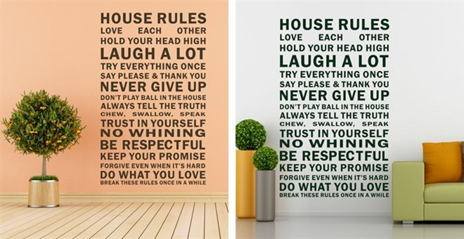 Large house rules wall stickers home decor jane for Home decorating guidelines