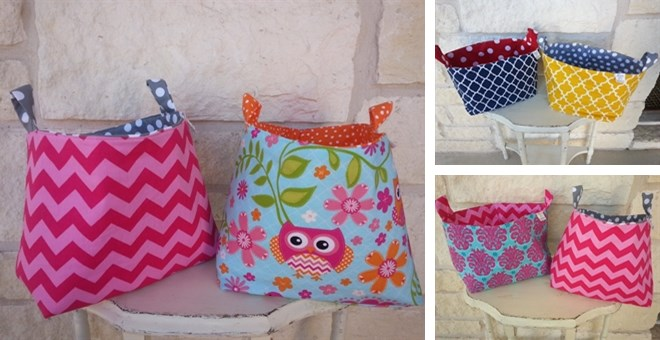 Handmade Fabric Storage Baskets : Handmade fabric reversible storage baskets fabrics jane