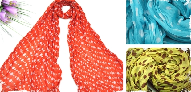 Pure Cotton Polka Dot or Chevron Scarves - 18 Styles Available!