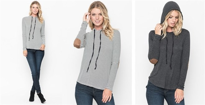 Striped Elbow Patch Hoodie