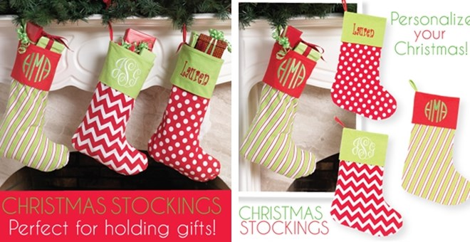 Make sure the stockings hanging from the mantle reflect every member of your family. From designs perfect for the newborn baby to custom stockings for the matriarch of the family, you'll find personalized Christmas stockings of all types. You'll love our selection of festive monogrammed.