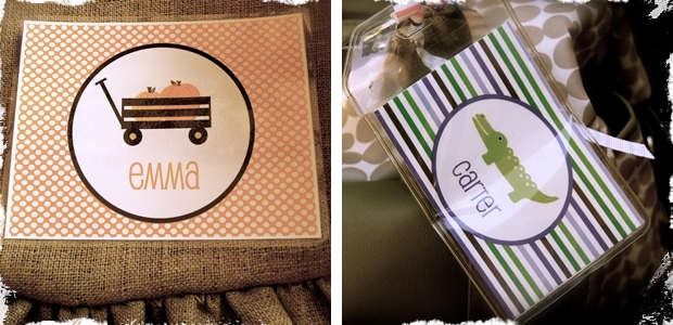 Personalized Placemats & Bag Tags - 16 Designs to Choose From!