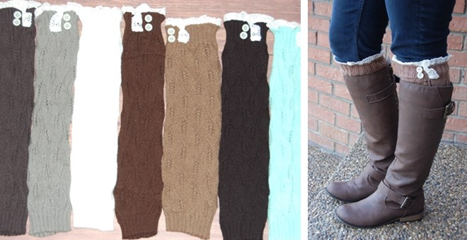 Women's Knit Leaf Pattern Boot Socks / Leg Warmers with Antique Lace and Buttons