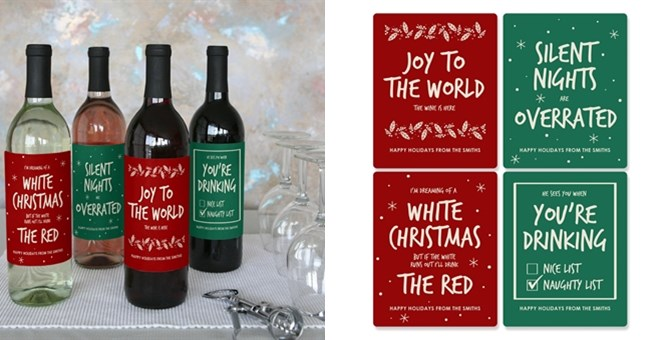 Quot Personalized Quot Christmas Red And Green Wine Bottle Labels
