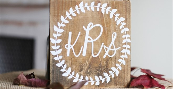 Monogrammed Wreath Rustic Home Decor Sign Jane