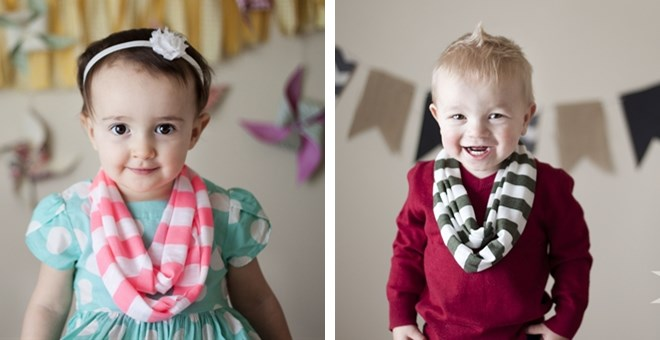 Toddler/Kids Infinity Scarves for Girls and Boys - 7 Colors!