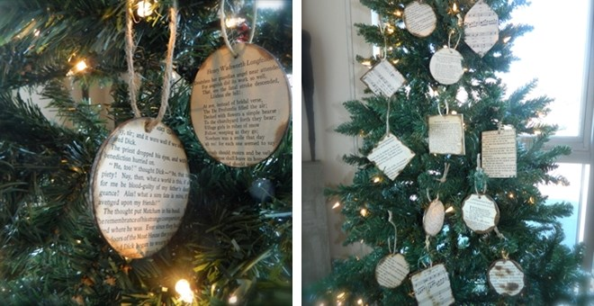 Christmas ornaments vintage rustic holiday book page for Vintage rustic christmas decorations