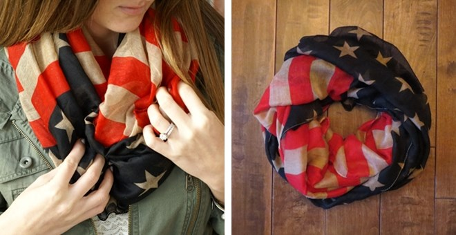 BACK BY DEMAND Vintage Inspired American Flag Infinity Scarf