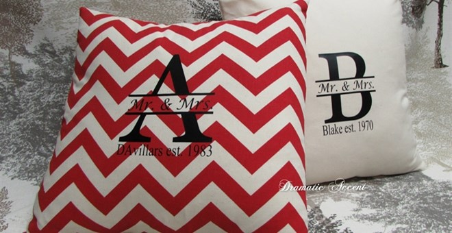 Personalized Monogram Mr. & Mrs. pillow cover  – Natural & Burlap print