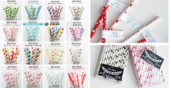 GORGEOUS STRAW MULTIPACKS with FREE STRAW FLAGS & VALENTINE TAGS PRINTABLE