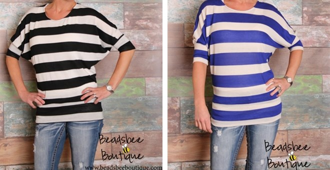 New Striped Dolman Top is BACK! – 4 Great Colors