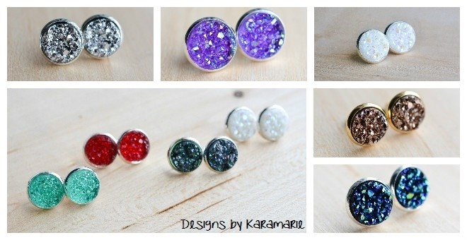 Image of 12mm Druzy Studs / 25 Colors! New Colors Added!