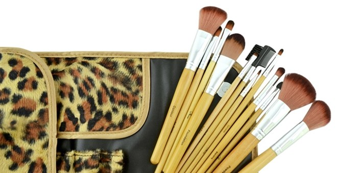 Image of 12Pcs Leopard Make Up Brush Set